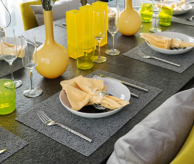 served with a plate on the table in yellow colors decoration